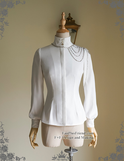 Vintage Stand Collar Shirt Blouse Handmade Shoulder Chain Set White Black