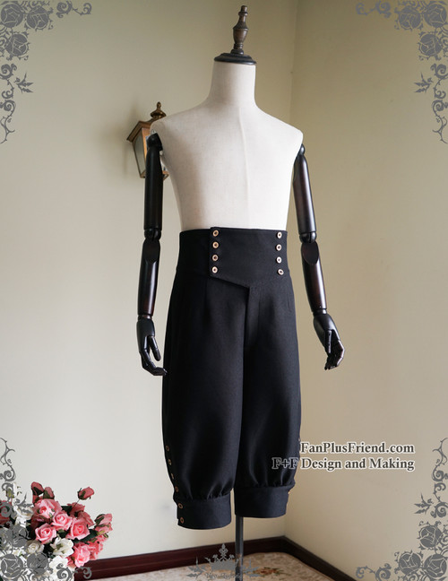 Steampunk Riding Breeches High Waisted Shorts Black Men Shorts