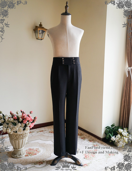 Silence Lonely, Gothic Vintage High Waist Double Breasted Pants*Man Version Instant Shipping
