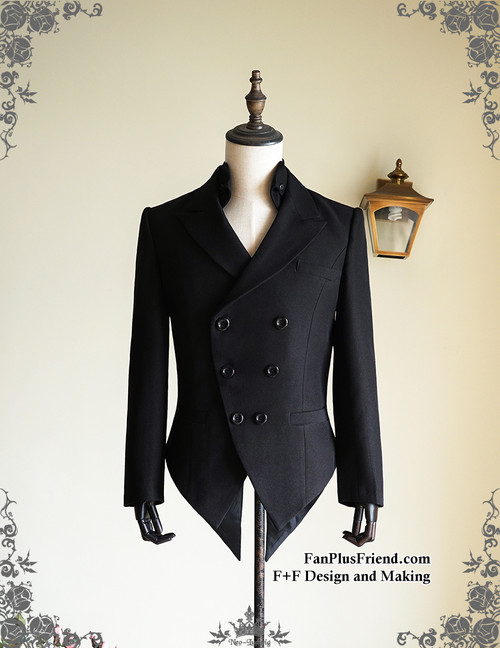 Steel Rose, Steampunk Wedding Elegant Gothic Coattail Double-breasted Crisp Tuxedo Jacket Coat*Man M Black Instant Shipping