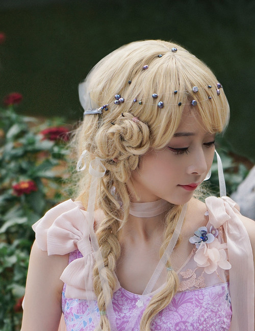 Pucks' Prank, Classical Elegant Fairy Queen Handmade Back Head Crown & Natural Pearl Chains Headdress