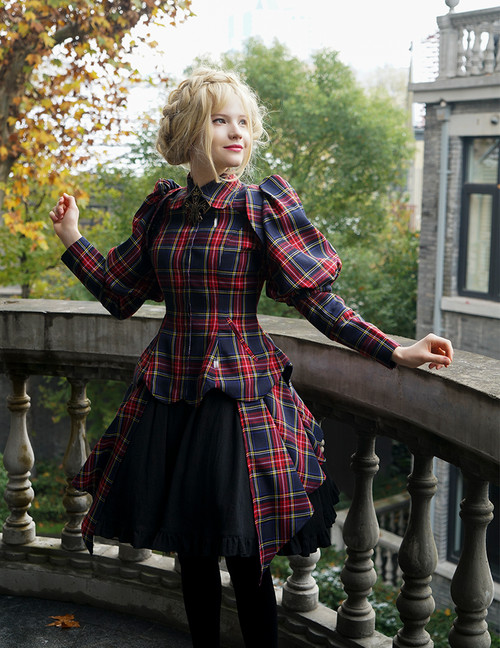Model Show (Dark Blue & Red Plaid Version) dress DR00205