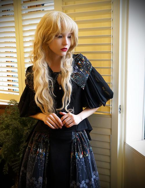 Model Show (Black + Grey Tulle Version) blouse TP00157
