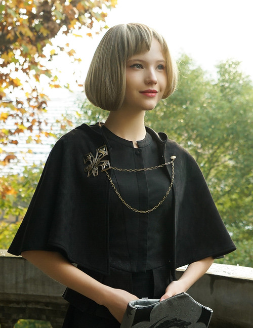 Vintage Retro Black Hooded Cape & Brooch