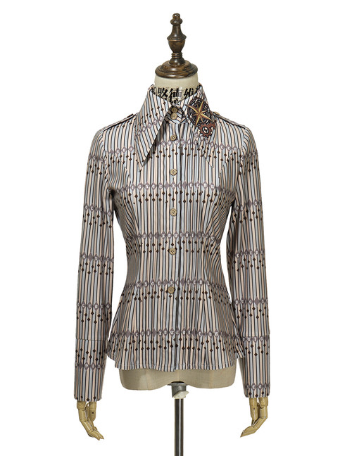ivory+black+light blue stripes knit fabric