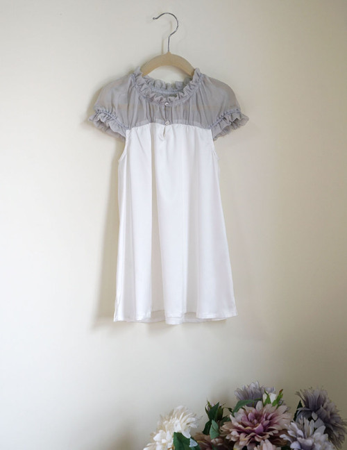 Front View (White Silk + Light Grey Silk Chiffon Version)