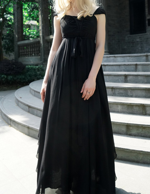 NEW RELEASED OFFER: Gothic Retro Black Dress Summer Maxi Dress Draped Chiffon Evening Dress with Headband
