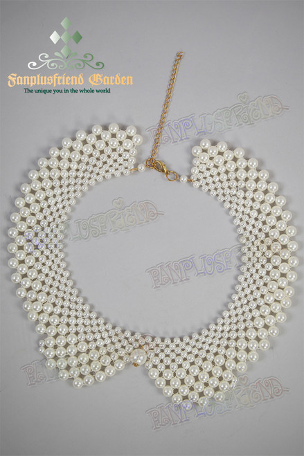 Elegant Beads False Collar Choker/Necklace*Pearl White