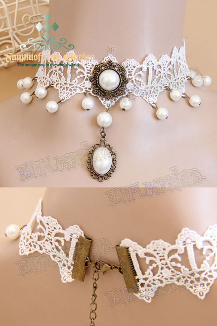 Elegant Pearl Decoration & Pendant Lace Choker*White