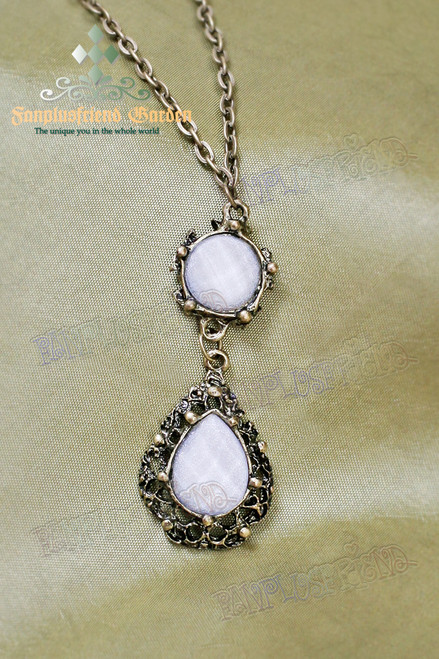 Gothic Elegant White Crystal Necklace
