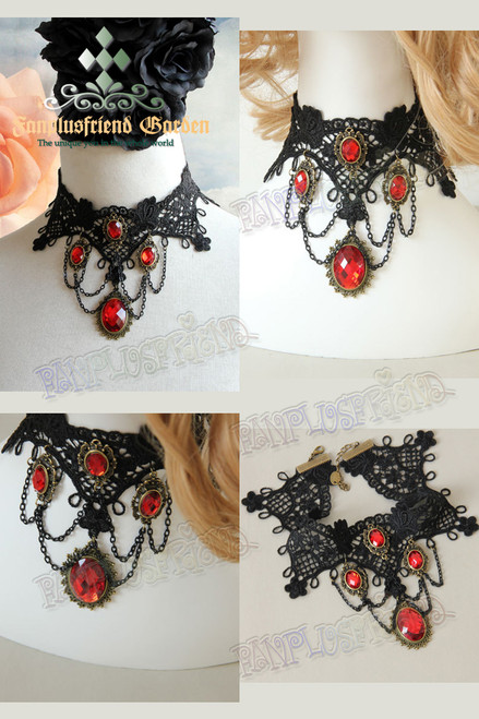Gothic Elegant Ruby & Chain Pendants Lace Choker*Black