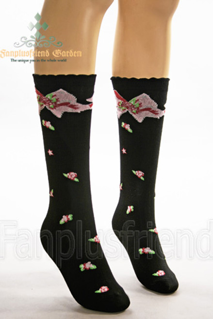 Country Lolita Roses & Bowknots Under-Knee Length Stockings*Black