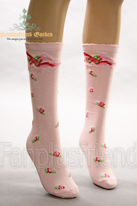 Country Lolita Roses & Bowknots Under-Knee Length Stockings*Pink