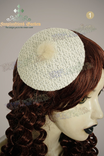 Elegant Classic Circle Knitting Mini Beret Hair Pin*2colors