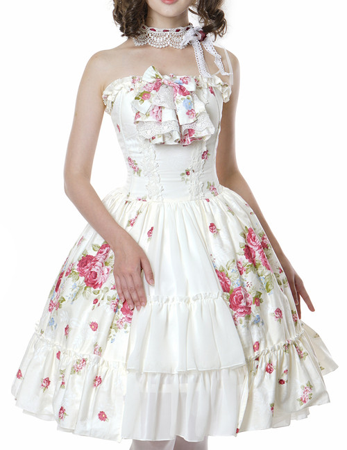 Pastel Bouquet Classic Lolita: Spiral Steel Boned Corsage Dress & Choker Set*Instant Shipping