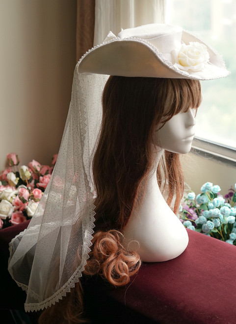 Gothic Victorian: Cocked Rose Wool X Brocade Dress Hat&Veil*3colors Instant Shipping