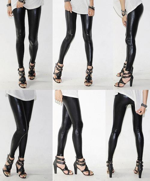 Gothic Punk Imitated Pleather Black Leggings Tights Pants