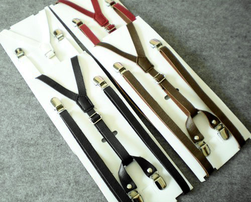 Gothic Dandy Fake Leather Suspenders*4colors