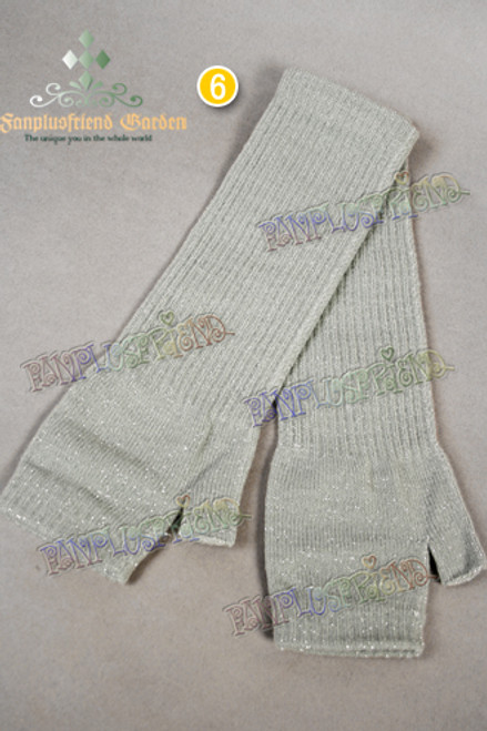 Punk Warm Silver Thread Mixed Fingerless Long Knitting Gloves*5colors Instant Shipping
