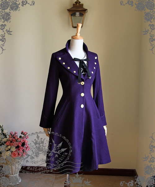 Elegant Gothic Aristocrat Formal Half-Mandarin & Lapel Collar Wool Frock Coat