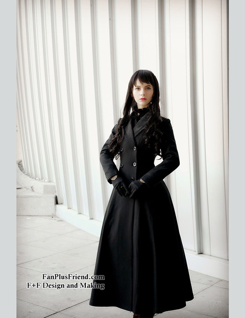 Elegant Gothic Aristocrat Wide Skirt Bottom Slim Waist Long Thick Wool Coat