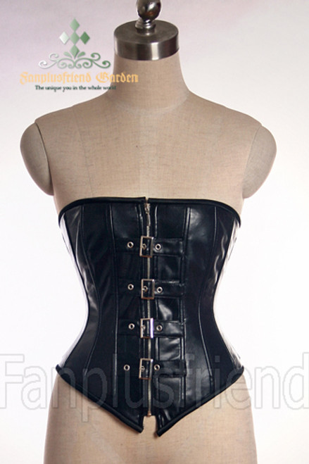 Elegant Gothic Aristocrat Steel Boned Buckles PU Leather Peaked Bottom Long Corset