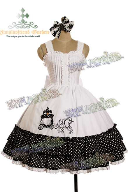 "Last Chance: Sweet Lolita ""Unicorn Carriage"" Polka Dot Dress/JSK*3color Instant Shipping"