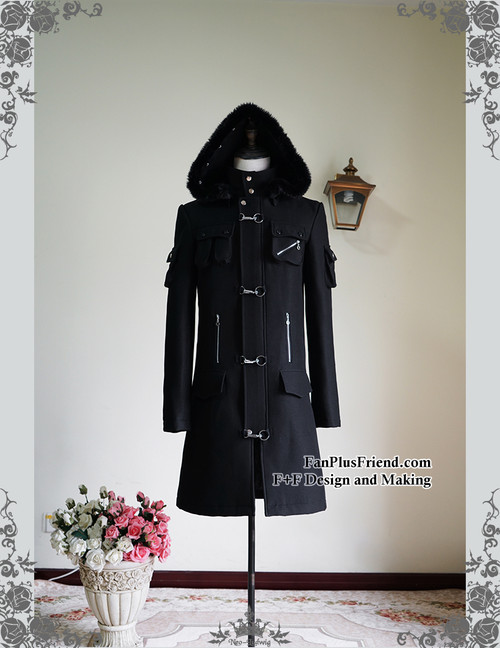 Gothic Punk Pockets & Zipper Decorated Padded Warm Coat & Hood