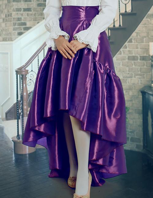 Classic Gothic Chic: Small Corset Waist Long Ruffle Tail Taffeta Skirt*4colors