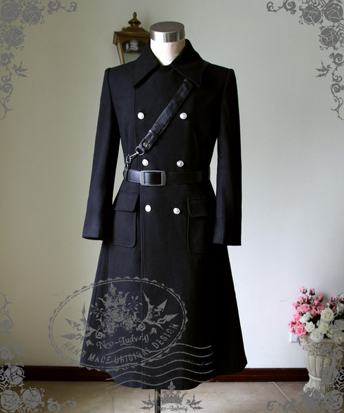 Man Military Gothic Thick Wool Double Breasted Mid-Calf Coat Long Trench