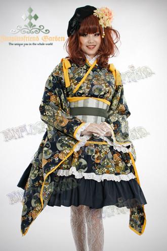 Wa Lolita Quot Serene Hydrangea Blossom Quot Dark Blue Kimono
