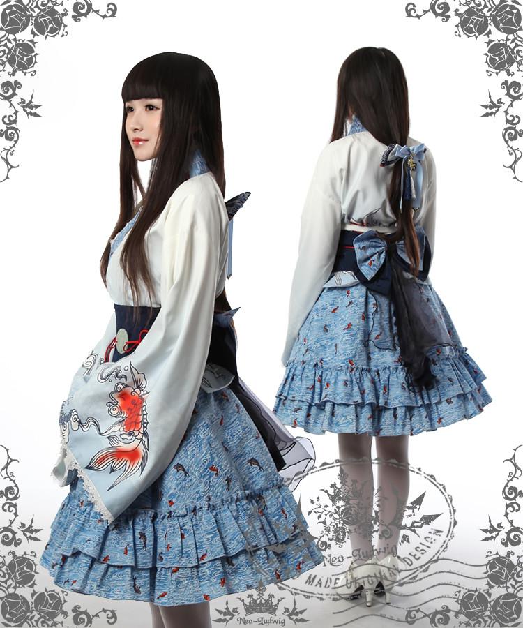 Sumoru Kingyo Wa Lolita Blue Amp White Kimono Yukata 6pcs Set