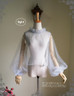 Blouse when tighten the cuff ribbons (Light Grey Tulle Ver.)