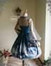 Back View when tighten the cuff ribbons & tie up one of the front ribbons, and w/o Hood (Misty Blue + Grey Tulle Ver.)