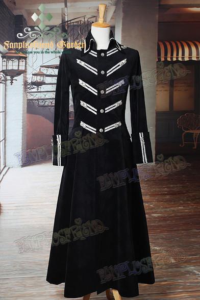 Elegant Gothic Aristocrat Classic Goth Long Velveteen Coat