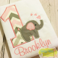 Elephant Themed Birthday (Baby Pink / Grey Chevron Number)