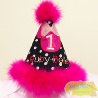 Minnie Mouse Inspired Birthday (Black, Hot Pink, Baby Pink) Party Hat