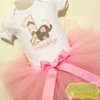 Elephant Themed Birthday (Baby Pink / Grey Chevron Number) Set