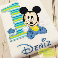Mickey Mouse Baby Inspired (Multi Striped Number)