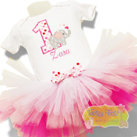 Elephant Themed with Pink Ombre Tutu Birthday Set