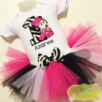 Minnie Mouse Inspired Birthday (Zebra) Set