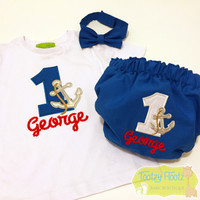 Cake Smash 3 Piece Set - Anchor - Nautical Themed <Top, Bow Tie, Nappy Cover>