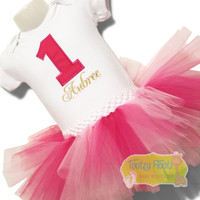 Hot Pink Number with Gold Name Birthday Set