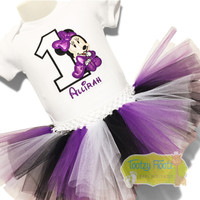 Minnie Mouse (Purple, Black & White) Inspired Birthday Set