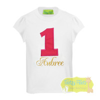 Hot Pink Number with Gold Name Birthday