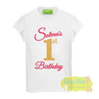 Cake Smash 3 Piece Set - Selena (Movie) Inspired <Top, Nappy Cover & Hat> GOLD GLITTER AND PINK SPARKLE