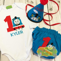 Cake Smash 3 Piece Set - Talking Blue Train Inspired <Top, Hat, Nappy Cover>
