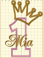 Reserved for Monika - Mia Crown (Number Pink White Polka Dot / Gold Glitter Crown)
