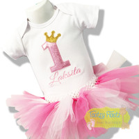 Birthday Number (Baby Pink Sparkle) with Princess Crown 3 Spoke (Gold Glitter) Set