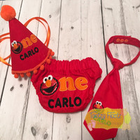 Cake Smash 3 Piece Set - Elmo Inspired